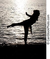 folyóparti, jóga