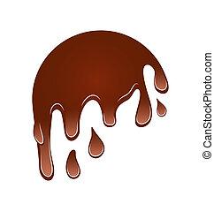 folyik, elszigetelt, csokoládé, lefelé, háttér, fehér, folt
