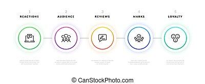 folyik, infographic., lábnyom, ügy, grafikus, terv, sablon, transzparens, strategy., vektor, bemutatás, információs anyag, diagram, tervezés, eljárás, workflow