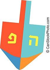 fonás, hanukkah, dreidel, tető, ikon