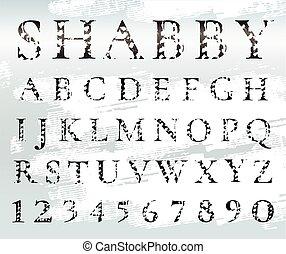 font., fekete, numbers., kopott, alphabet., irodalomtudomány, grunge, textured