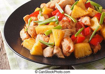 food:, kínai, kellemes, fanyar, ananász, close-up., csirke, sült, szósz, horizontális