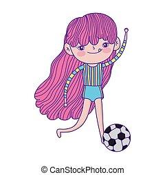 footbal, kevés, játék, betű, karikatúra, labda, leány