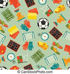 (football), motívum, seamless, icons., sport, futball