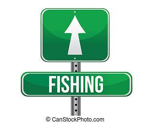 forgalom, halászat, út cégtábla