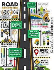 forgalom, vektor, szállítás, infographics