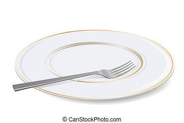 fork., fehér, vektor, tányér