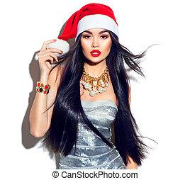 formál, mód, szépség, egyenes, repülés, hosszú szőr, szent, leány, kalap, karácsony, piros