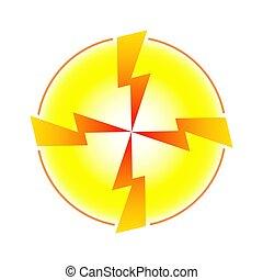 forma, belső, nyílvesszö, sárga, villámlás, négy, karika, összetart