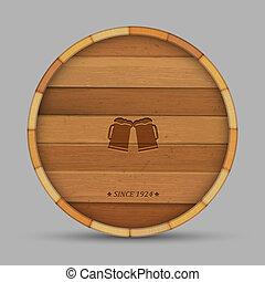 forma, címke, puskacső, fából való, sör, vektor