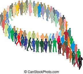 forma, emberek, nagy csoport