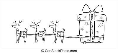 forma, kordé, nose., rénszarvas, könyv, vektor, illustration., őz, karácsony, nagy tehetség, harness., színezés, page., gifts., csinos, wheels., szállítás