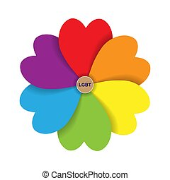 forma, lgbt., szív, szirom, felírás, befest, virág