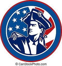 forradalmi, belső, háttér, amerikai, csíkoz, állhatatos, karika, csillaggal díszít, lobogó, katona