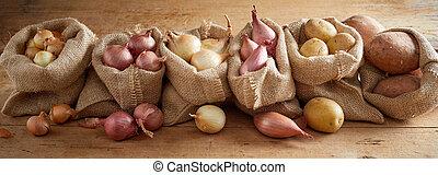fosztogat, krumpli, vöröshagyma, evez