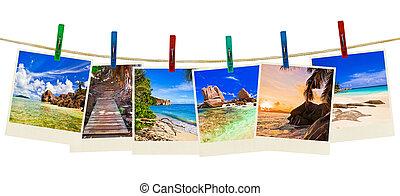 fotográfia, tengerpart szünidő, ruhaszárító csipeszek