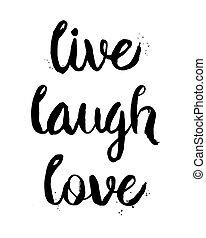 frázis, él, szeret, nevet