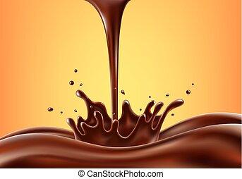 fröcskölő, vektor, ábra, csokoládé