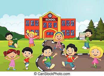 fr, boldog, gyerekek, karikatúra, izbogis