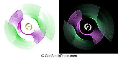 fractal, illustration., állhatatos, bíbor, 3, beautifully, fekete, alapismeretek, főszarufák, tervezés, rotated., azonos, rendering., fehér, görbe, grafikus, elvont, backgrounds., zöld