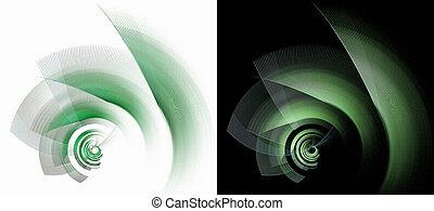 fractal, illustration., ugyanaz, állhatatos, 3, különböző, felett, fekete, alapismeretek, forgat, főszarufák, tervezés, azonos, rendering., nagyság, fehér, gép, grafikus, direction., elvont, backgrounds.