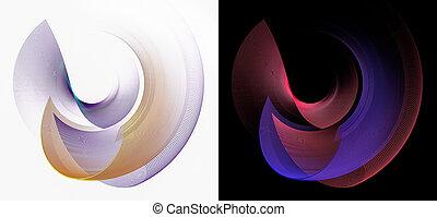 fractal, körív, illustration., állhatatos, 3, görbület, fekete, alapismeretek, felemelkedik, tervezés, átvág, rendering., más., fehér, grafikus, wave-like, színes, elvont, mindegyik, backgrounds.