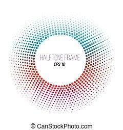 frame., pontozott, banner., szín, halftone, gradiens, vektor, háttér, részvény