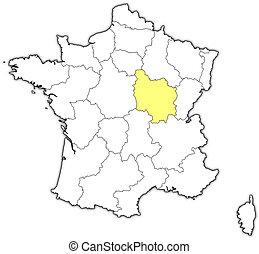franciaország, térkép, kijelölt, burgundia
