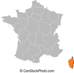 franciaország, térkép, kijelölt, corsica