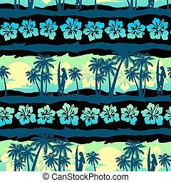 frangipani, seamless, tropikus, zöld, motívum, napkelte