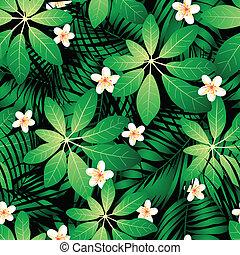 frangipani, zöld, seamless, tropikus, pálma, motívum