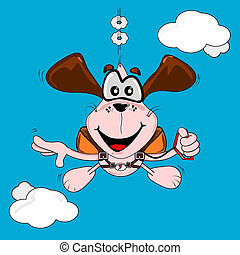 freefall, kutya, karikatúra, ejtőernyőzés
