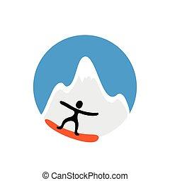 freeride, snowboarder, havas, vektor, jel, hegy