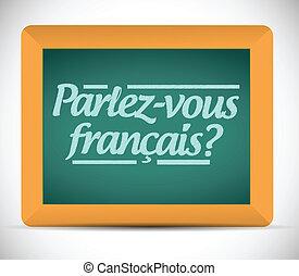 french., írott, ön, beszél