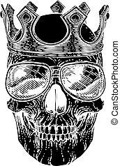 friss, fejtető, csontváz, koponya, napszemüveg, homály