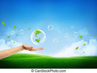 friss, fogalom, zöld földdel feltölt, új