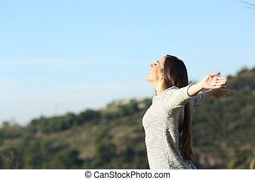 friss, lélegzés, nő, fegyver, boldog, kifeszítő, levegő