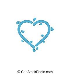 friss, loccsanás, víz, vektor, jelkép, szeret