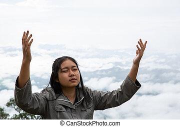 friss, mély, lélegzet, tizenéves kor, boldog, hegy, lélegzés, kitakarít, tető, levegő