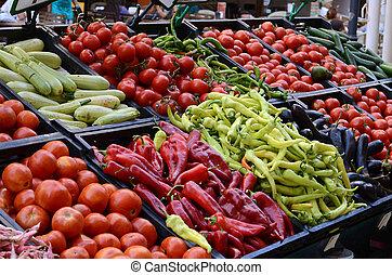 friss növényi, szerves, piac, tanyatulajdonosok