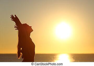 friss, nő, lélegzés, napnyugta, levegő