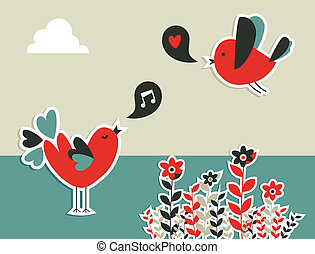 friss, társadalmi, kommunikáció, madarak, média