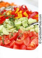 friss, uborkák, saláta, paradicsom
