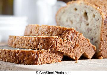 frissen, wooden élelmezés, finom, sült, banán, bread