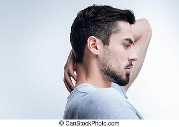 frizura, övé, elegáns, kiállítás, figyelmes, súlyos, ember