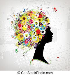 frizura, arcél, tervezés, női, virágos, -e