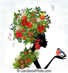 frizura, elegáns, -e, tervezés, leány, karácsony
