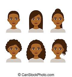 frizura, fekete, nők