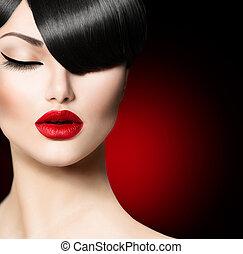 frizura, mód, szépség, bojt, varázslat, divatba jövő, leány