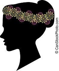 frizura, nő, árnykép, tervezés, virágos, -e